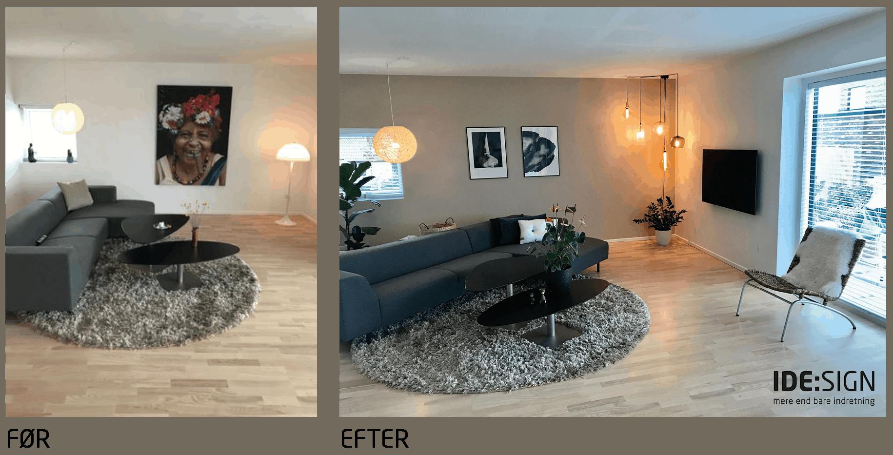 En stue der bliver total forandret - men det er de samme ting der bliver brugt
